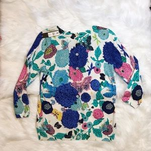 NWT Talbots medium floral sweater buttoned back